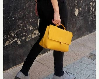 Yellow Leather Purse / Women's Bag / Evening Clutch / Top Handle Handbag / Crossbody Purse / Shoulder Bag / Small  Every Day Bag - Romie