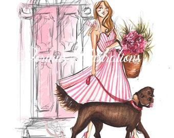Spring art, Dog lover art, Fashion women art, Fashion illustration, Dog illustration, Labrador art, Art for girls, Girls room art