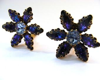 Weiss blue diamanté earrings