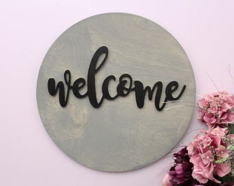 Welcome Sign, Round Wood Sign, Welcome Wood Sign, Home Decor, Welcome Wooden Sign, Round Wall Art, Large Wood Sign, Housewarming Gift