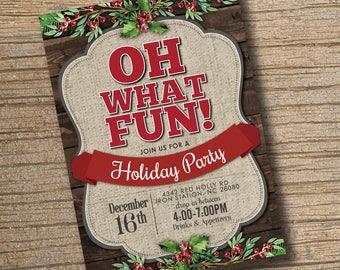 Holiday Party Invitation, Christmas Invitation, Holiday Invitation, Printable, Christmas Party Invite, PRINTABLE, Digital Invitation