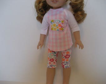 14.5 Inch Doll Clothes - Checks and Flowers Outfit made to fit dolls such as the Wellie Wishers doll clothes