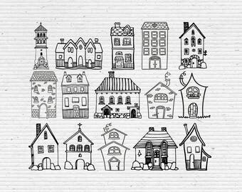 Hand-Drawn Houses - Printable Clipart, Digital Stamps for Scrapbooking and Cardmaking