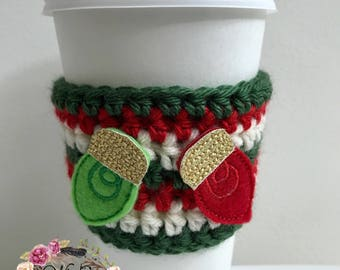 "The ""Christmas Lights"" Cozies / Coffee Cozie / Tea Cozie / Tumbler Cozie / Crochet Cozie"