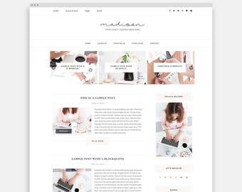 Feminine Wordpress Theme for Lifestyle Blogger - Responsive WordPress Theme for Business - Female Entrepreneur - Madison Wordpress Theme