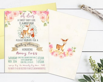 Woodland Baby Shower Invitation, Woodland Animal Baby Shower, Oh Deer Baby  Shower, Baby