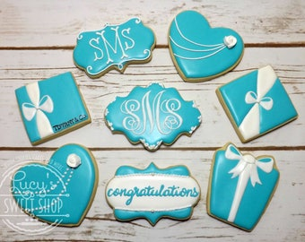 Tiffany Cookies - Tiffany and Co Cookies - Tiffany Blue - Wedding Cookies - Blue and White Cookies - Bridal Cookies
