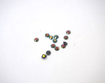 20 black and iridescent faceted acrylic rhinestone 3mm