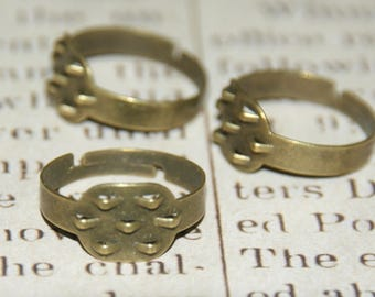 2 rings notched metal bronze 18mm