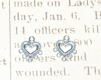 2 thin heart silver plated metal connectors 12x13mm