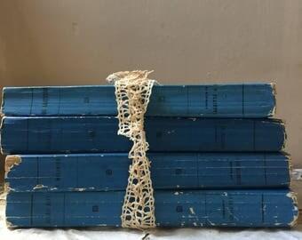4 Blue French Parisian History Books