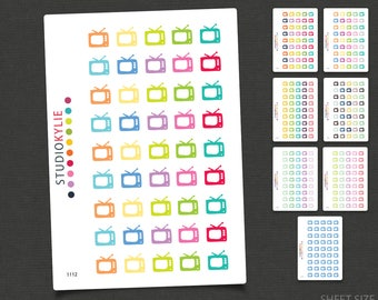 TV Icons Planner Stickers  - Repositionable Matte Vinyl