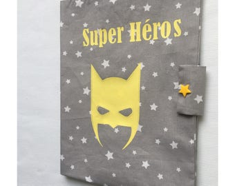 Grey cotton health booklet protection cover white stars with mask superhero yellow