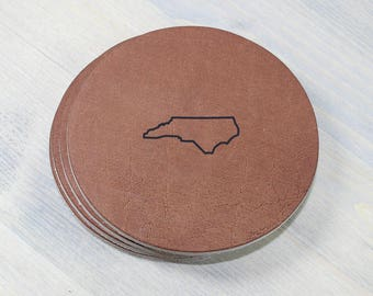 North Carolina Leather Coasters 4 Pack