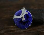 PENDANT RESERVED for Fabianne, crystalline glaze, cobalt circle necklace, oxidized silver necklaces, porcelain circle,  flower necklace