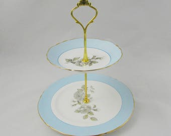 Two Tier Cake Stand, Blue with Grey Rose, Crown Staffordshire, Vintage Bone China for Tea Party, Wedding, Bridal Shower, Baby Shower