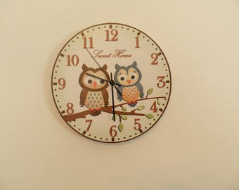 Amorous owlets on the tree. Hall Lobby Boy room Quiet clock office wall clock White green Black  wall clock Housewares