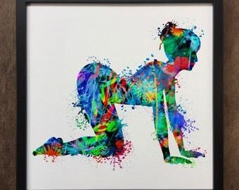 Yoga Print Meditation Colourful Spiritual Art- Framed Art Print ART119