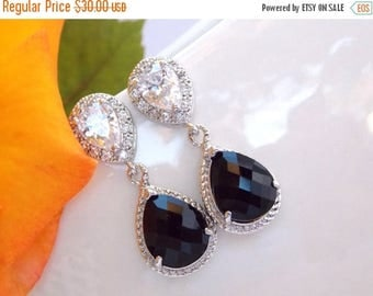 SALE Wedding Jewelry, Cubic Zirconia and Black Earrings, Bridal Jewelry, Jet Black, Onix, Silver, Post,Dangle,Drop,Bridesmaids Gifts,Bridal