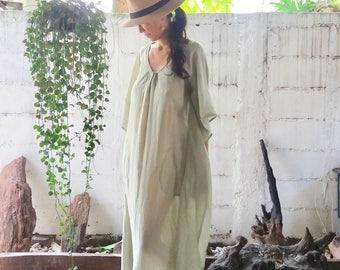 Beach Kaftan Dress Light Green /Maxi Kaftan/ Kaftan Dress / Kaftan Long Dress/ Beach Cover Up/Caftan/Cotton Dress/ Boho Dress/Resort Dress