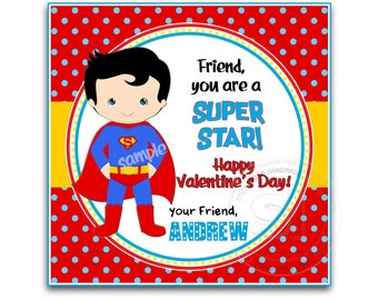 "Valentine's Super Heroe 2.5"" Printable Tags-Happy Valentines Personalized Tags, Super Star Valentine (You Print) 2.5"" tags-Digital File"