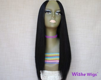WiShe Pear: 100% Remy Human Hair Upart Wig- Natural Yaki Coarse Hair Texture