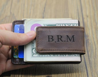 Money Clip Wallet, Slim Wallet, Personalized Leather Wallet, Men's Handmade Wallet, Clip Wallet. Gift Idea, Father Gift, Groomsmen Gift