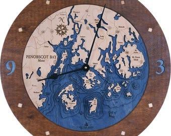 """Penobscot Bay, Maine 18"""" 3D Clock"""