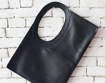 SALE Black Maxi Bag/Extravagant Casual Leather Bag/Large Tote Bag/Genuine Leather Shoulder Bag/Black Clutch/Square Handbag/Circle Handle Bag