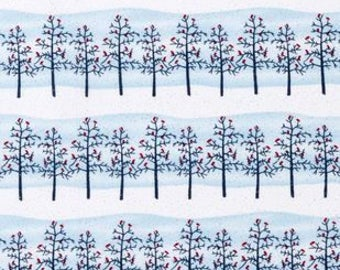 Winter Trees Fabric Holiday Inspirations Cotton Glitter Fabric Snow Fabric Christmas Fabric Cardinal Fabric Red Bird Cotton Fabric
