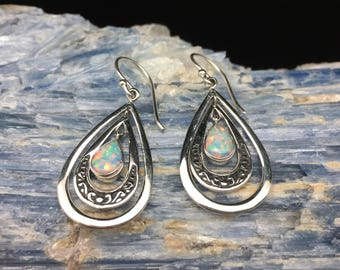 Free Dangling Teardrop Opal Earrings // Bali Opal Earrings // 925 Sterling Silver