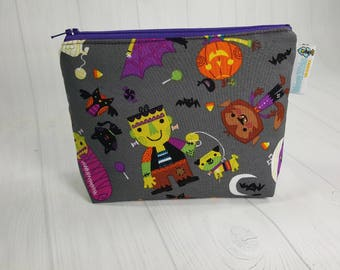 Halloween Friendly Monsters Notions Pouch,  Mini Zippered Wedge Bag, Knitting Notions Pouch, Craft Pouch NP0026