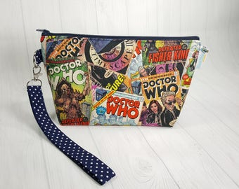 Doctor Who Comics Small Knitting Project Bag, Zippered Wedge Bag, Zipper Knitting Bag, Cosmetic Bag, Sock Knitting Bag WS0060