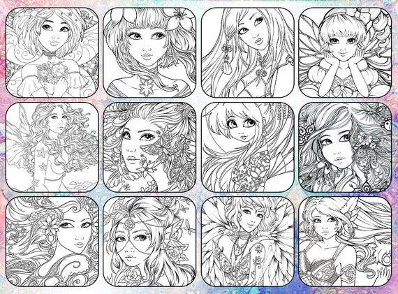 digital fantasy coloring book advanced adult colouring book 20 designs beautiful woman fairies angels coloring pages by sakuems - Fantasy Coloring Book