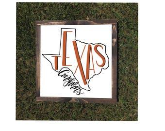 Texas Longhorns Framed Canvas Sign University of Texas Austin