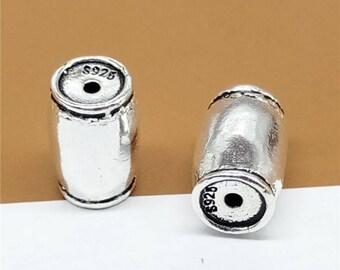 4 Sterling Silver Barrel Beads, Sterling Barrel Beads, 925 Silver Barrel Bead, Sterling Barrel Spacer Bead, Bracelet Barrel Bead - LA328
