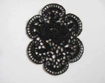 1 pattern lace guipure Black 8 x 8 black guipure lace motif 7 cm 1 x 7 cm