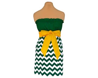 Green + Bright Gold Chevron Game Day Dress