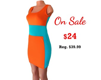 Sexy Orange + Aqua Miami Dolphins Color Block Dress