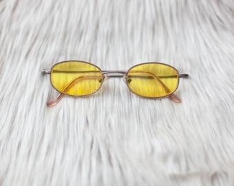 Yellow Vintage Style Sunglasses / Yellow Sunglasses / Yellow Lenses