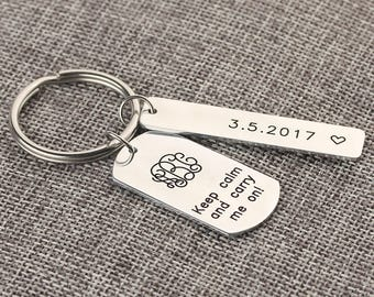 Personalzied Monogram Keychain -  Initials Monogrammed Name Keychain -   Bar Date Keychain with Heart - Keep Calm and Carry Me on -