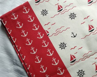 fabric linen cotton boat launch wave red black beige fabric 0.5m