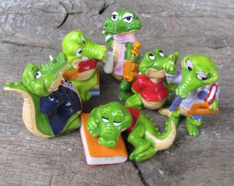 Vintage Toys; Early 90 Kinder Egg Toys; Ferrero Kinder Surprise Eggs; set of 6 small Crocodiles; Collectible Toy