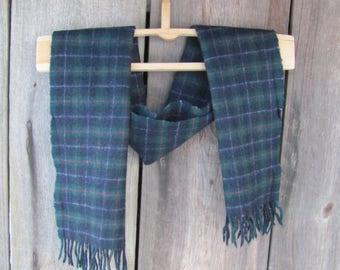 Vintage Scarf; Viyella Pure New Wool Scarf made in Scotland; Navy Blue & Dark Green Plaid Wool Scarf; Tartan Scarf; Vintage Men's Scarf