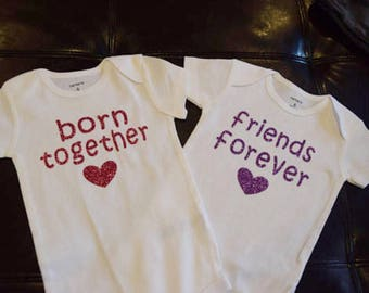 Baby girl twins etsy born together friends forever twin baby girls personalized baby gift for twins negle Choice Image