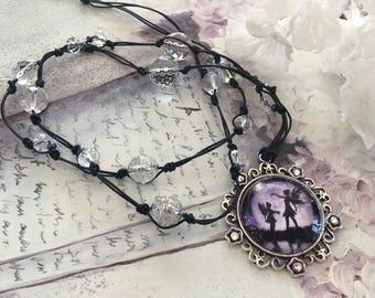 romantic long necklace beads Crystal and Moonlight fairy Locket