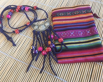 ethnic necklace colorful hippie bag