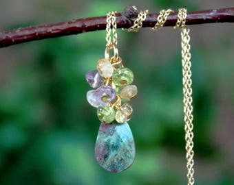 Ruby in Fuchsite Stone.Multi Gemstone Strand Pendant Necklace.14K Gold Filled Chain.Statement.Dainty.Bridal.layering.Cluster.Gift.Handmade.