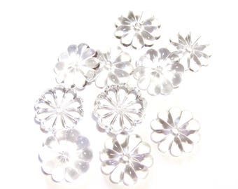 4 CURVED SHAPED 16 MM CRYSTAL GLASS FLOWER BEADS
