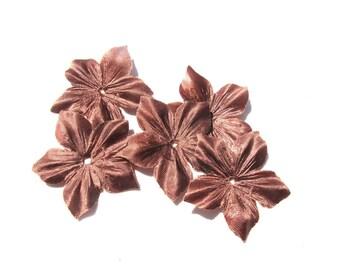 2 FLOWERS SATIN DUCHESSE SILK BROWN SHAPED DIAMETER 35 MM